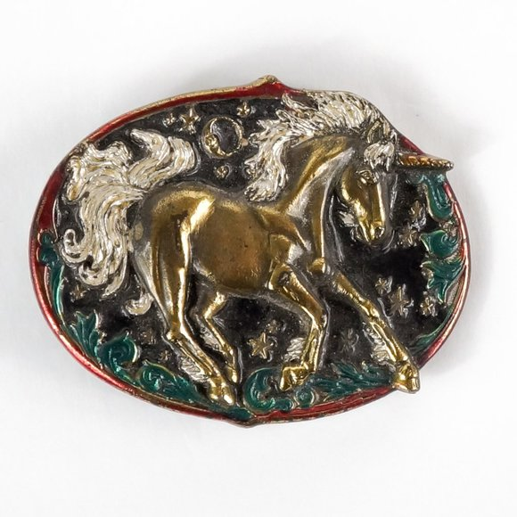 The Great American Buckle Company Accessories - VINTAGE 80s Unicorn Oval Belt Buckle Brass Heavy